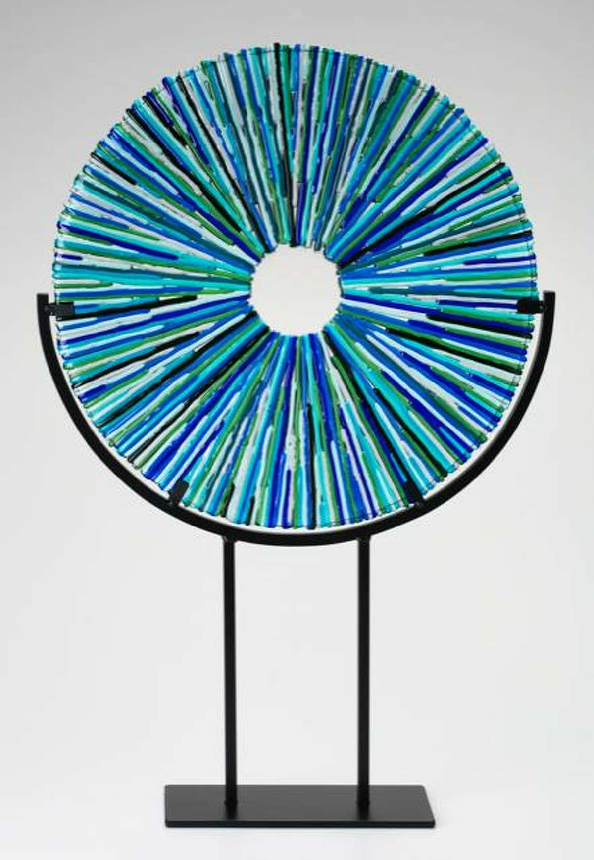 Middlesex Community College welcomes two artists this month in Middletown. Pictured, a fused glass sculpture by Becky Cook.