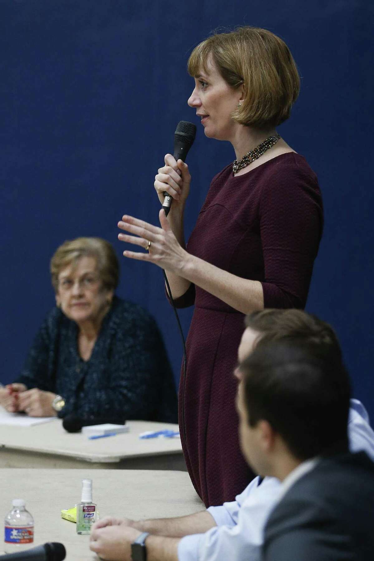 Congressional candidate Laura Moser answers a question as democrats vying to take on congressman John Culberson speak to voters at a Bayou Blue Democrats candidate forum at St. Stephens Episcopal Church Wednesday, Feb. 7, 2018 in Houston. (Michael Ciaglo / Houston Chronicle)