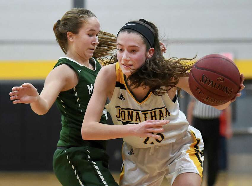 Law senior captain Colleen Goodwin drives around Maloney sophomore Olivia Aitken, Tuesday, Feb. 27, 2018, in the fourth quarter of a class L first round matchup of the CIAC state tournament at Jonathan Law High School in Milford. The Lady Lawmen beat Maloney, 62-28.