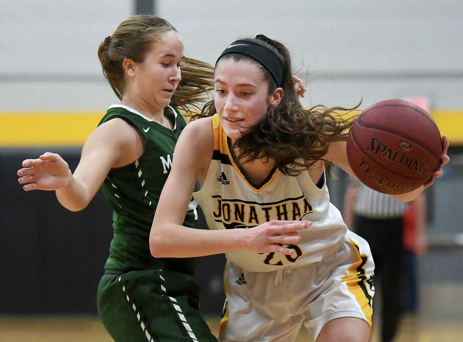 Law senior captain Colleen Goodwin drives around Maloney sophomore Olivia Aitken, Tuesday, Feb. 27, 2018, in the fourth quarter of a class L first round matchup of the CIAC state tournament at Jonathan Law High School in Milford. The Lady Lawmen beat Maloney, 62-28. Photo: Catherine Avalone, Hearst Connecticut Media / New Haven Register
