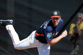 Houston Astros RHP pitcher Justin Verlander (35) throws a bullpen session as the pitchers and catchers worked out during spring training at The Ballpark of the Palm Beaches, Thursday, Feb. 15, 2018, in West Palm Beach    ( Karen Warren / Houston Chronicle )