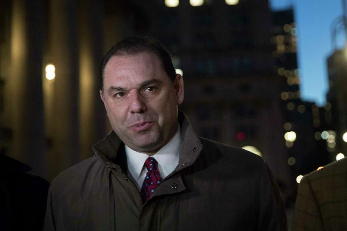 """Joseph Percoco, one of Gov, Andrew Cuomo's former executive deputy secretary, leaves U.S. District court, Tuesday, Feb. 27, 2018, in New York. Percoco proved his guilt by repeatedly quoting from the mob drama """"The Sopranos"""" as he described bribes he was receiving from three businessmen, a prosecutor told jurors as closing arguments began Tuesday. (AP Photo/Mary Altaffer)"""