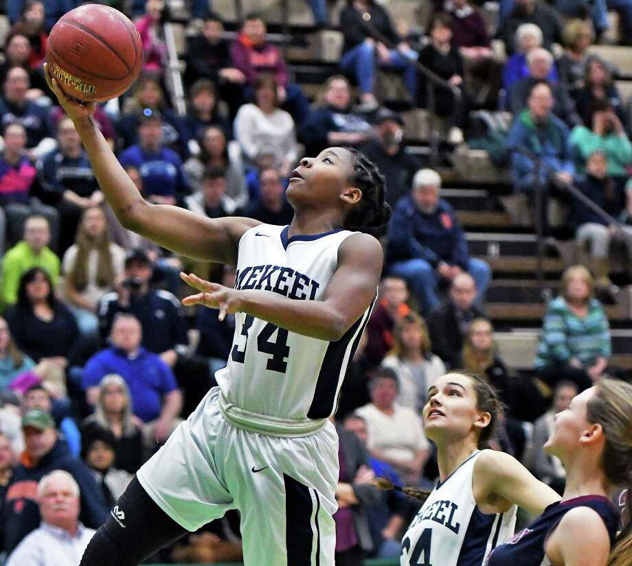 Mekeel Christian Academy #34 Elizabeth Singleton goes up for two during their Class C state semifinal game against Watkins Glen Saturday March 18, 2017 in Troy, NY.  (John Carl D'Annibale / Times Union) Photo: John Carl D'Annibale / 20039983A