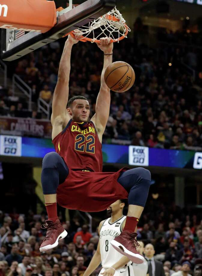 Cleveland Cavaliers' Larry Nance Jr. dunks against the Brooklyn Nets during the second half of an NBA basketball game Tuesday, Feb. 27, 2018, in Cleveland. The Cavaliers won 129-123. (AP Photo/Tony Dejak) Photo: Tony Dejak / AP 2018
