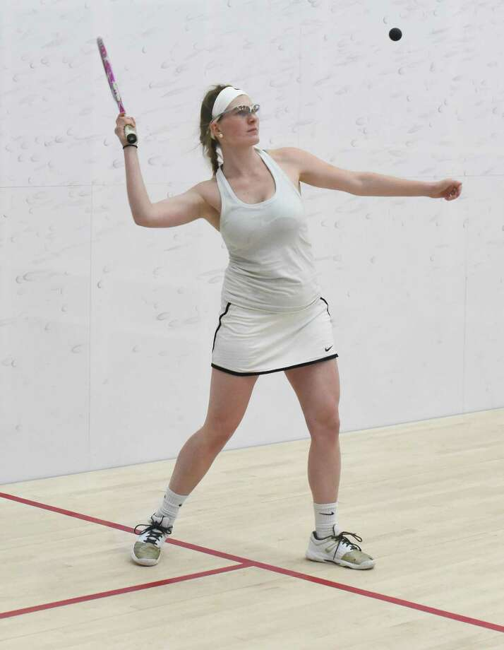Greens Farms Academy girls squash player Katie Mackle of New Canaan plays a point during a match against Brunswick earlier this season. At this weekend's New England Class C Prep School championships Mackle finished second in the No. 2 draw to place as GFA's top finisher. Photo: Contributed Photo