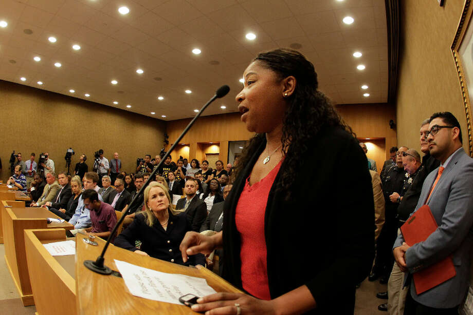 Kandice Webber, a Black Lives Matter Houston activist and organizer of the March for Black Women Houston spoke to the members of the the Harris County Commissioners Court in July 2017. ( Steve Gonzales / Houston Chronicle )