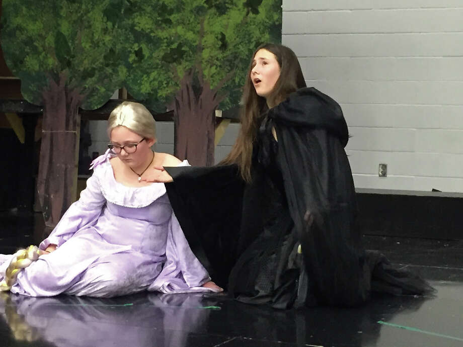 "Liberty Middle School's Act I presents its spring musical, ""Into the Woods, Jr.""  Show times are 6:30 p.m. on March 1 and March 2 as well as 2 p.m. on March 3.  Tickets are $5 each and can be purchased, for the first time, online.  Visit www.showtix4u.com and search for ""Liberty Middle School"" to select the production.  Pictured are Faith Peterson, left as Rapunzel, and Daphne Peterson as the witch. Photo: Julia Biggs • Jbiggs.edwi@gmail.com"