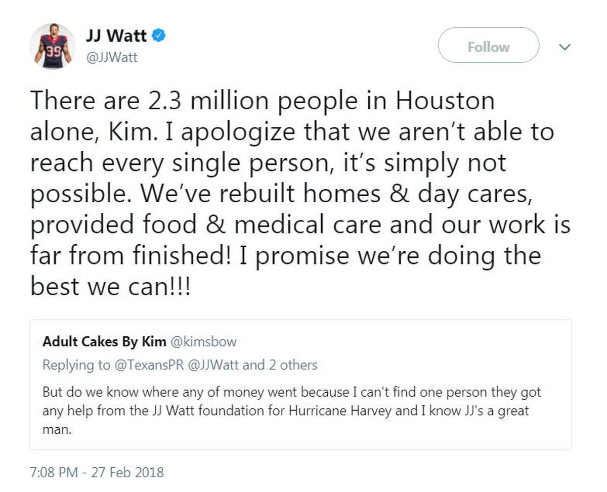 A Houston woman questioned Texans player J.J. Watt about the status of the funds he raised for Hurricane Harvey victims. Image source: Twitter
