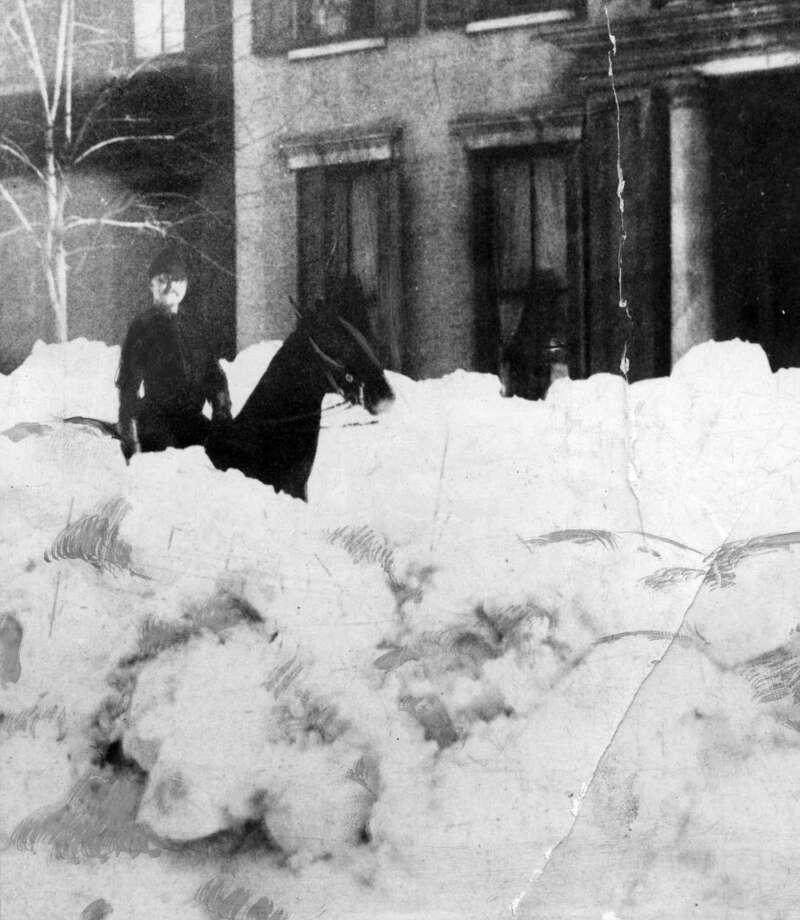 Snow covered streets from the Blizzard of 1888 when Albany was blanketed with 47 inches of snow between March 11 to 14, 1888, in Albany, N.Y. Historic streets, blizzard, snowstorm. (Times Union archive)
