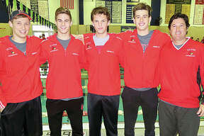 From left, Alton High senior swimmer Cole Akal, sophomore Noah Clancy, senior Matthew Daniel, junior Caden Akal and their coach, Garth Akal. The Redbirds qualified for this weekend IHSA state meet in seven events, including five individual races and two relays.