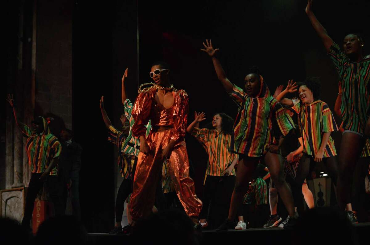 """Payton Alix performs as MC Hammer in HSPVA's """"At the Apollo."""""""