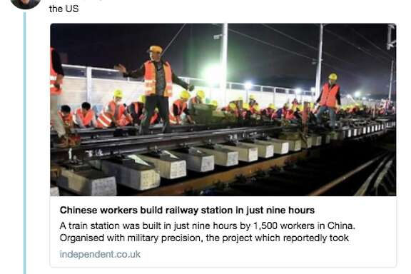 Elon Musk tweeted story on Feb. 27, 2018, from the British Independent on how Chinese workers built a railway station in nine months.
