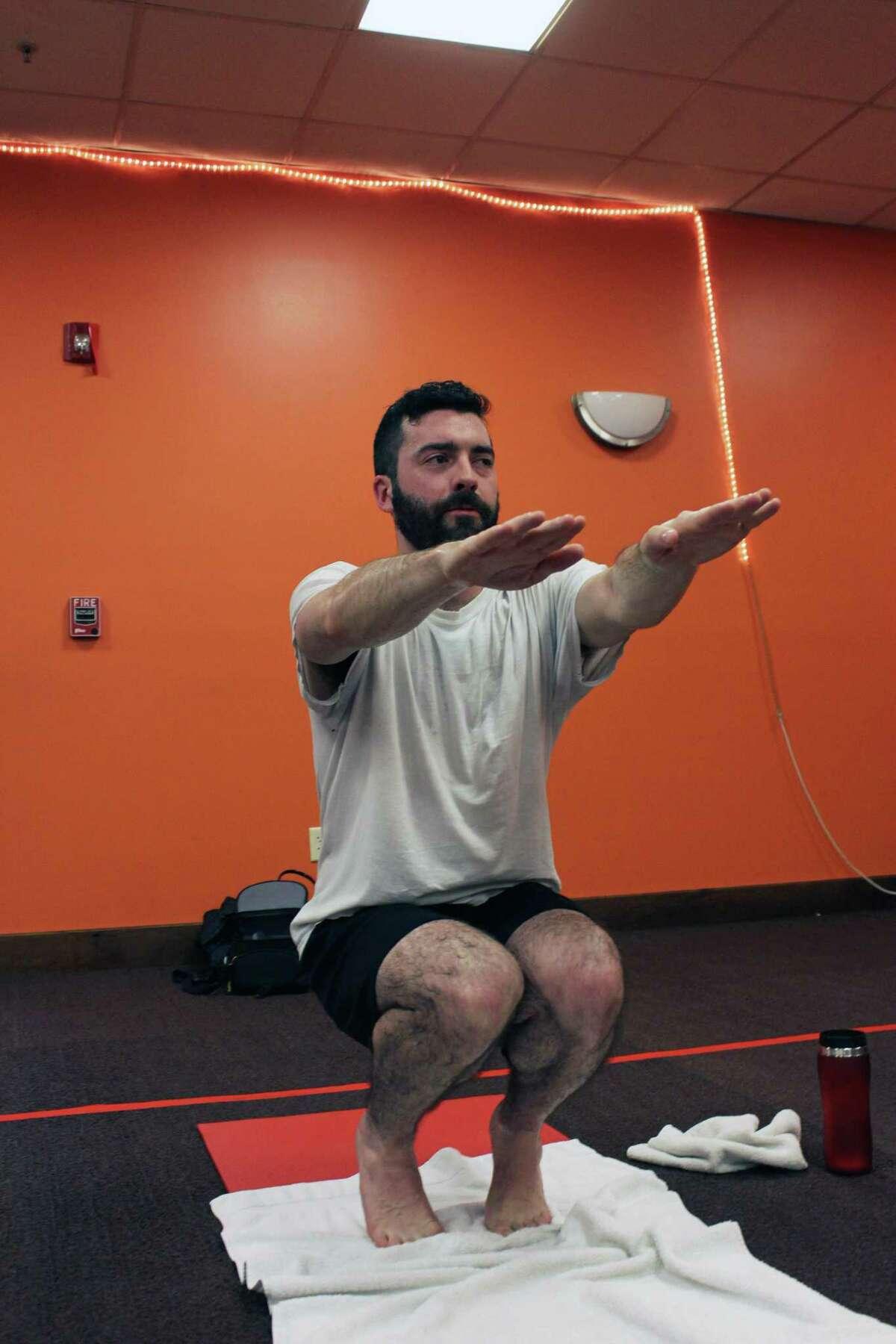 Hearst Connecticut reporter Justin Papp at Fairfield Hot Yoga in Fairfield, Conn., Feb. 26, 2018.