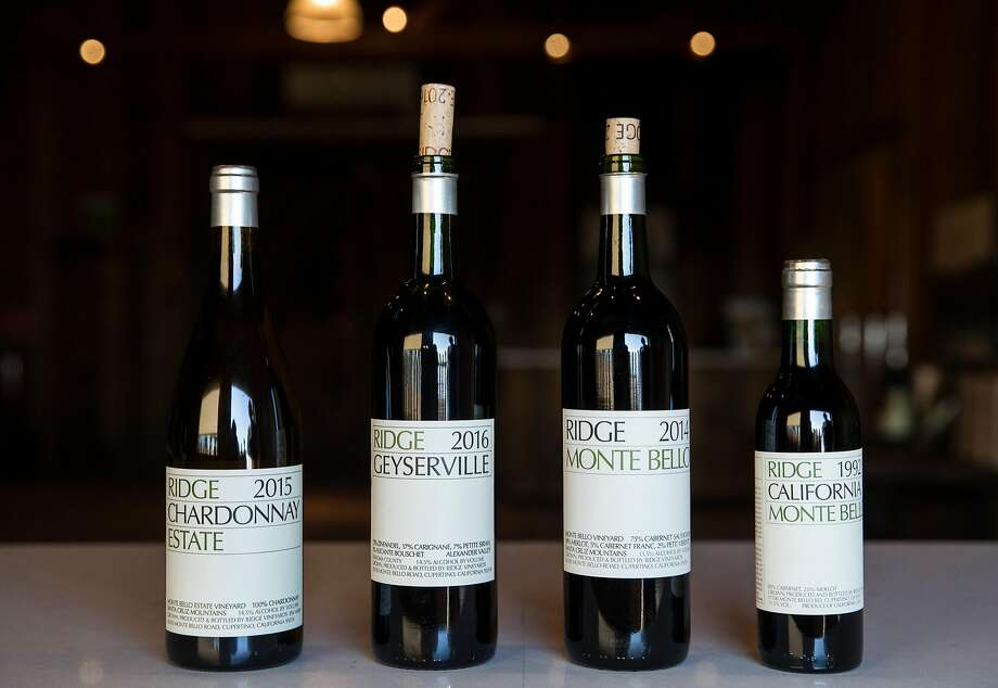 A selection of wine bottles photographed at Ridge Monte Bello Winery Wednesday, Feb. 21, 2018 in Cupertino, Calif. Photo: Jessica Christian, The Chronicle