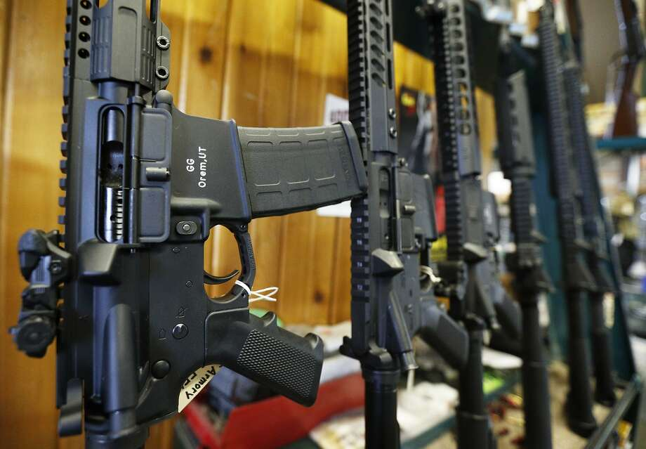 An AR-15 similar to these was used in the Marjory Stoneman Douglas High School shooting in Parkland, Fla., last month. Photo: George Frey, Getty Images
