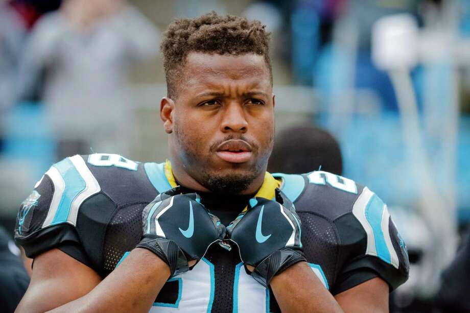 In this Dec. 24, 2017, file photo, Carolina Panthers' Jonathan Stewart watches before an NFL football game against the Tampa Bay Buccaneers in Charlotte, N.C. The Carolina Panthers released Stewart on Wednesday, Feb. 28, 2018. Stewart played all 10 seasons with the Panthers after being drafted by Carolina in the first round in 2008 out of Oregon. Photo: Bob Leverone, AP / FR170480 AP