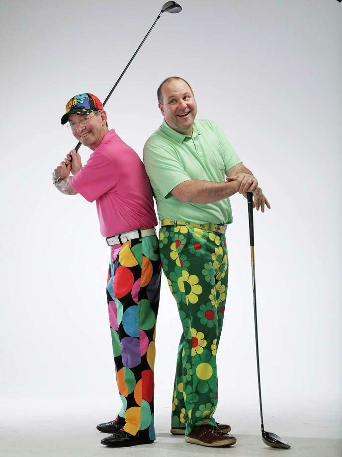 "Dr. Don Cohen and Rob Cooksey  model ""bad pants"" for Texas Children's Bad Pants Open  on Monday, Feb. 12, 2018, in Houston. ( Elizabeth Conley / Houston Chronicle ) Photo: Elizabeth Conley, Chronicle / © 2018 Houston Chronicle"