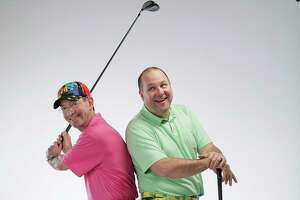 """Dr. Don Cohen and Rob Cooksey  model """"bad pants"""" for Texas Children's Bad Pants Open  on Monday, Feb. 12, 2018, in Houston. ( Elizabeth Conley / Houston Chronicle )"""