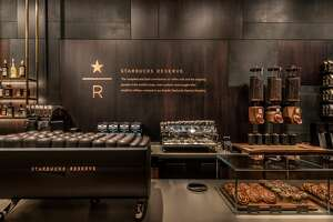 Views of the new Starbucks Reserve store at the company's corporate headquarters in Seattle's Sodo neighborhood.