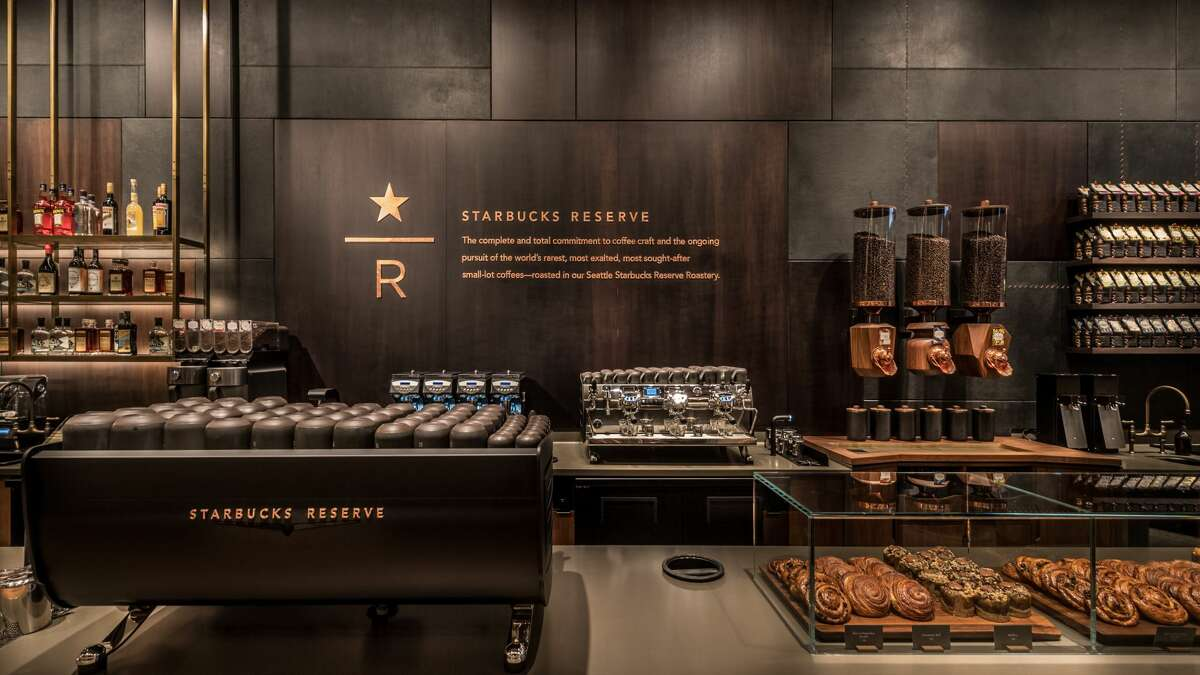 Views from inside Starbucks' new Reserve store at the company's corporate headquarters in Seattle's Sodo neighborhood.