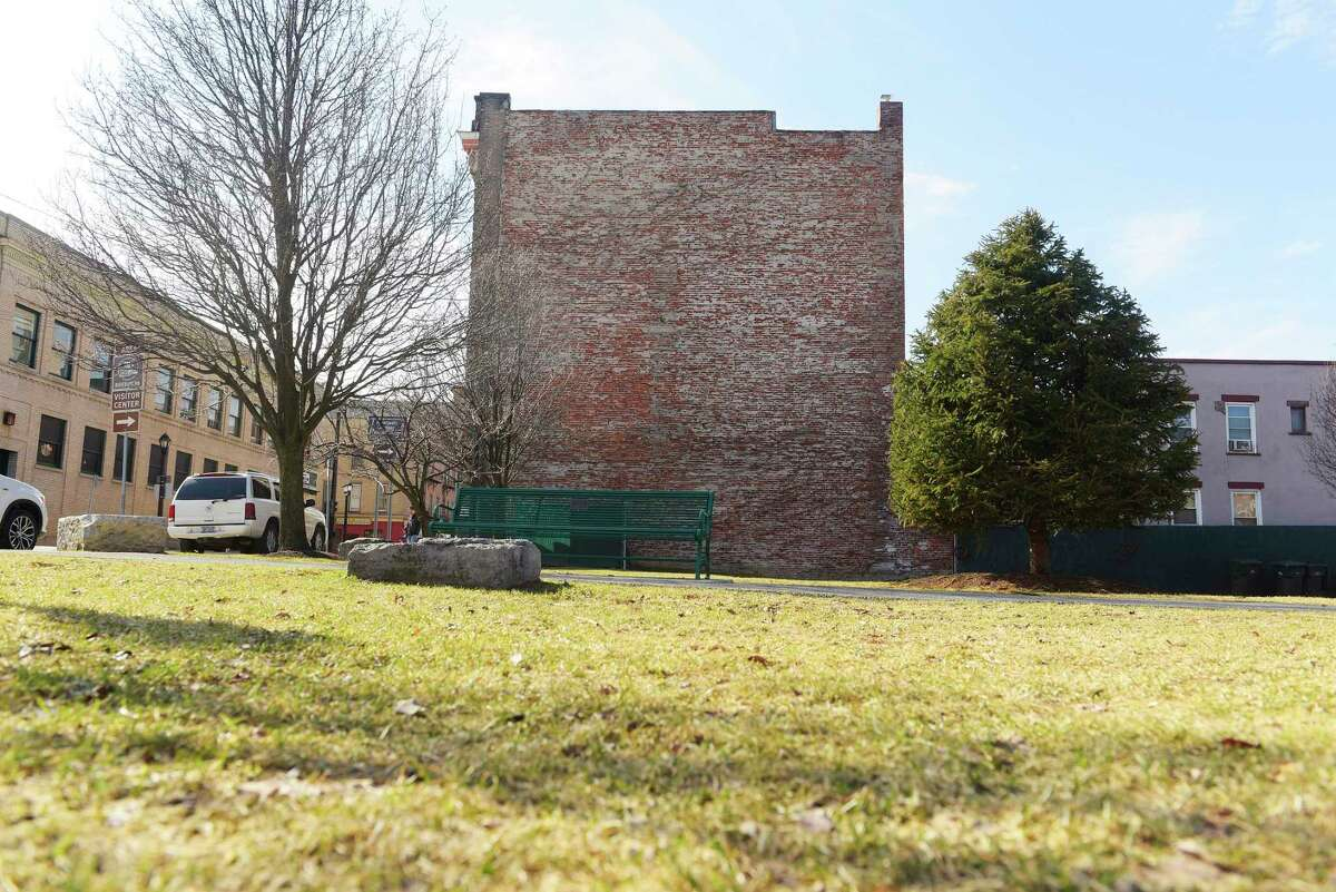A view of the building located at 289 Ontario Street on Wednesday, Feb. 28, 2018, in Cohoes, N.Y. RPI professors and students are working on a project to design a mural that incorporates an augmented reality overlay for the side of the building. (Paul Buckowski/Times Union)