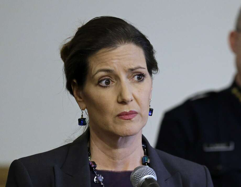 "FILE - In this May 13, 2016 file photo, Oakland Mayor Libby Schaaf, speaks at a news conference in Oakland, Calif. A federal immigration official says about 800 people living in Northern California were able to avoid arrest because of a warning by Schaaf. Thomas Homan, the Immigration and Customs Enforcement chief, told ""Fox and Friends"" Wednesday, Feb. 28, 2018, that what Schaaf did was ""no better than a gang lookout yelling 'police' when a police cruiser comes in the neighborhood."" (AP Photo/Ben Margot, FIle) Photo: Ben Margot, Associated Press"