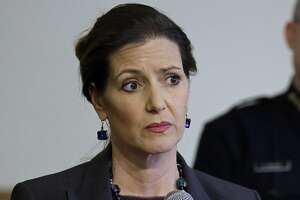 """FILE - In this May 13, 2016 file photo, Oakland Mayor Libby Schaaf, speaks at a news conference in Oakland, Calif. A federal immigration official says about 800 people living in Northern California were able to avoid arrest because of a warning by Schaaf. Thomas Homan, the Immigration and Customs Enforcement chief, told """"Fox and Friends"""" Wednesday, Feb. 28, 2018, that what Schaaf did was """"no better than a gang lookout yelling 'police' when a police cruiser comes in the neighborhood."""" (AP Photo/Ben Margot, FIle)"""