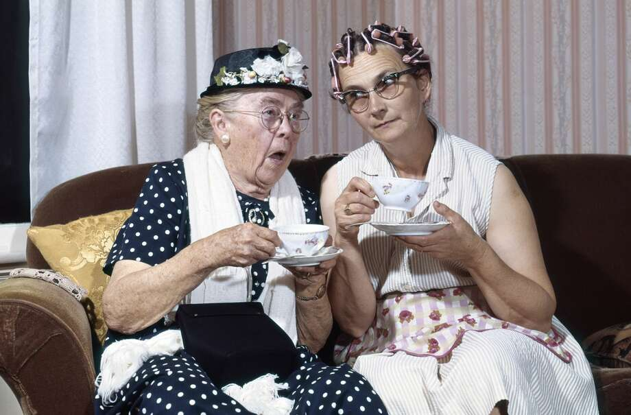 An elderly woman can't stop talking about herself. Photo: D. Corson/ClassicStock/Getty Images