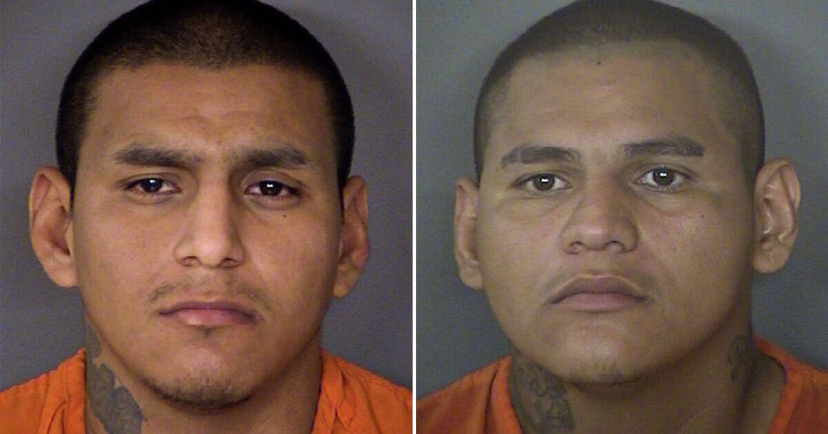 George Martinez (left), 27, faces a charge of burglary with intent to commit assault. They were booked into the Bexar County Jail on a $20,000 bond. The status of his brother, 31-year-old John Martinez, is unknown.