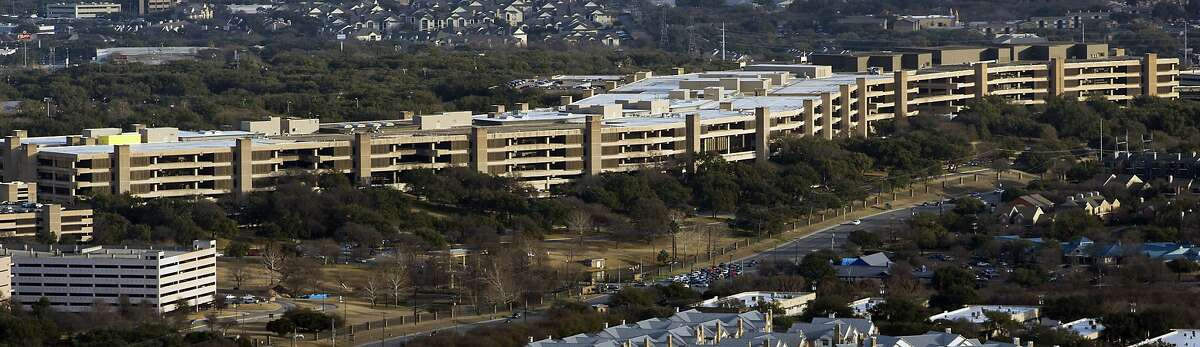 The USAA headquarters building is seen in a Feb. 1, 2018 aerial photo.