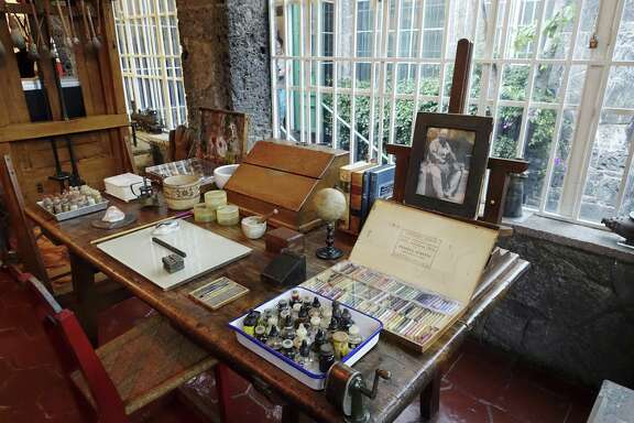 The work area of Diego Rivera at La Casa Azul, the Museo Frida Kahlo, where artists Frida Kahlo and Diego Rivera lived and worked in Mexico City.