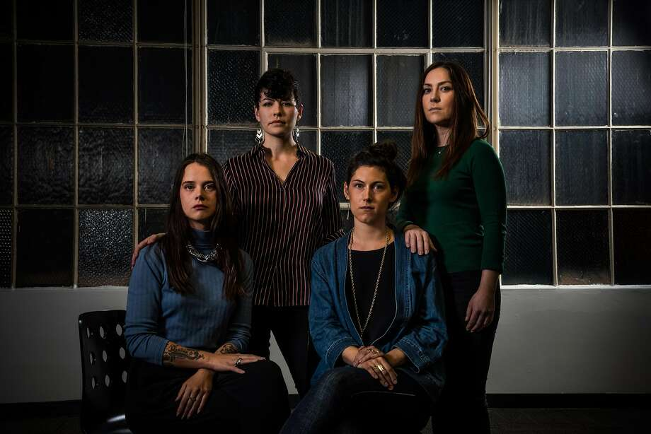 From left, Karina Vlastnik (sitting), Jadelynn Stahl, Claire Whitmer (sitting), and Molly Surbridge are among 31 women who have reported sexual harassment in Charlie Hallowell's Oakland restaurants to The Chronicle. They are seen on Wednesday, February 21, 2018, in San Francisco, Calif. Photo: Christie Hemm Klok, Special To The Chronicle