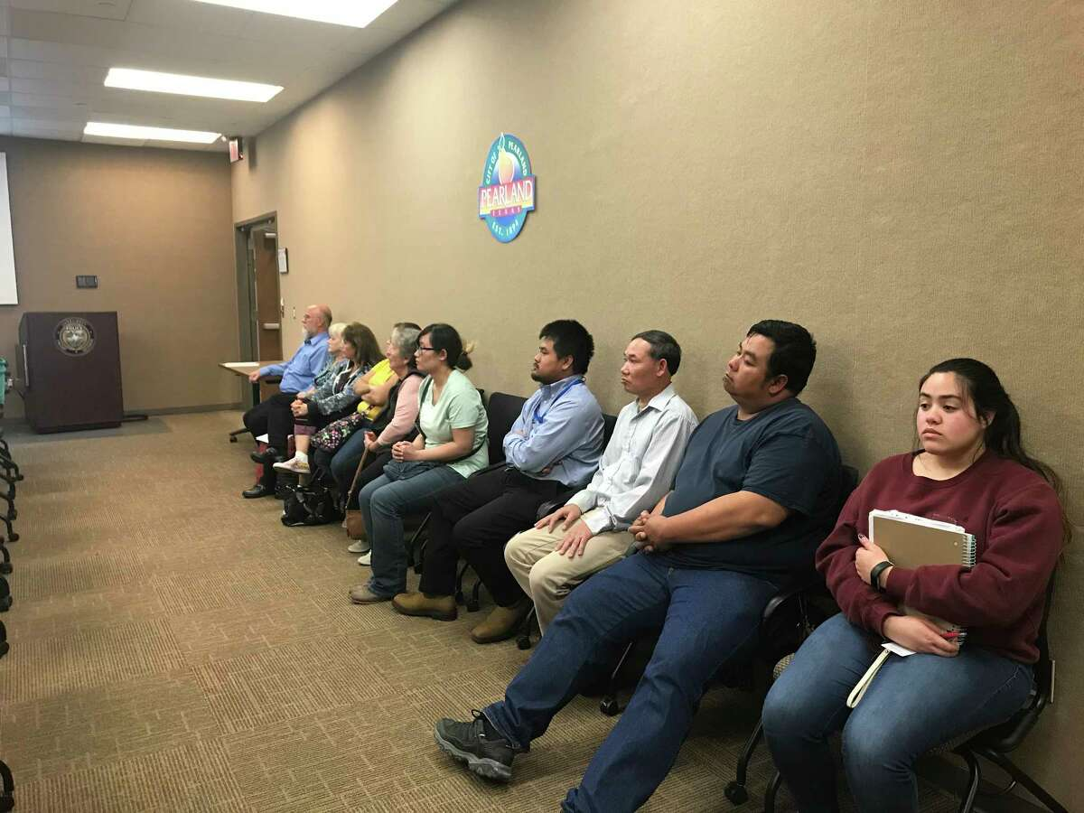 Some residents of a parcel that was annexed by Pearland appear at the Feb. 26 City Council meeting to remind city officials that they still oppose being forced into the city.