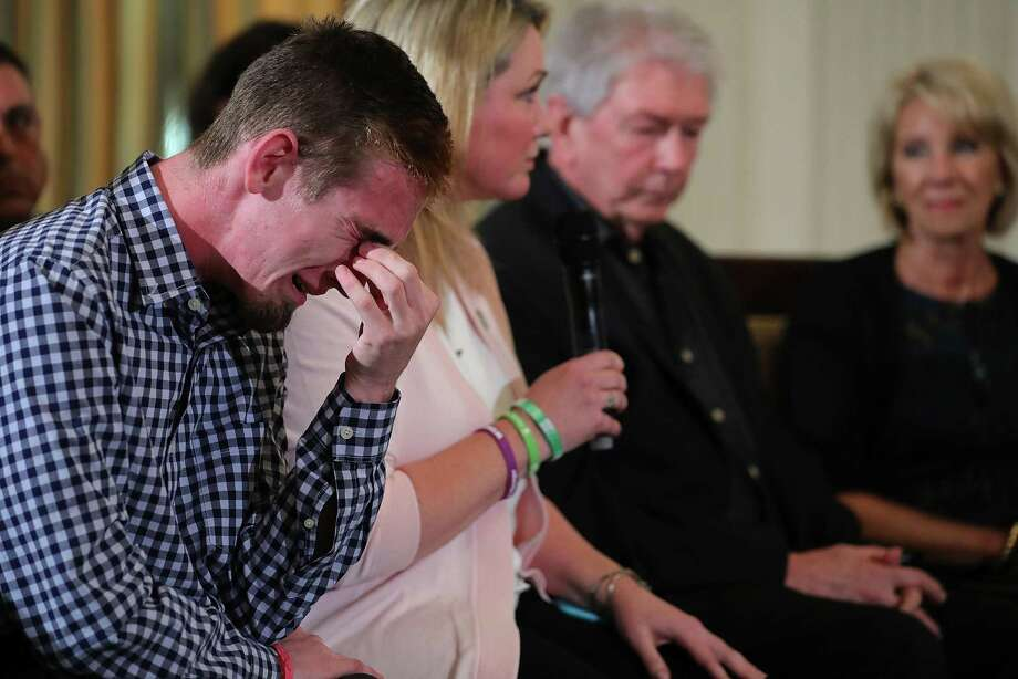 At the White House, senior Samuel Zeif weeps after describing how his best friend was killed at Marjory Stoneman Douglas High School. A reader expresses admiration for the students who have become activists in the wake of the mass shooting. Photo: Chip Somodevilla /Getty Images / 2018 Getty Images