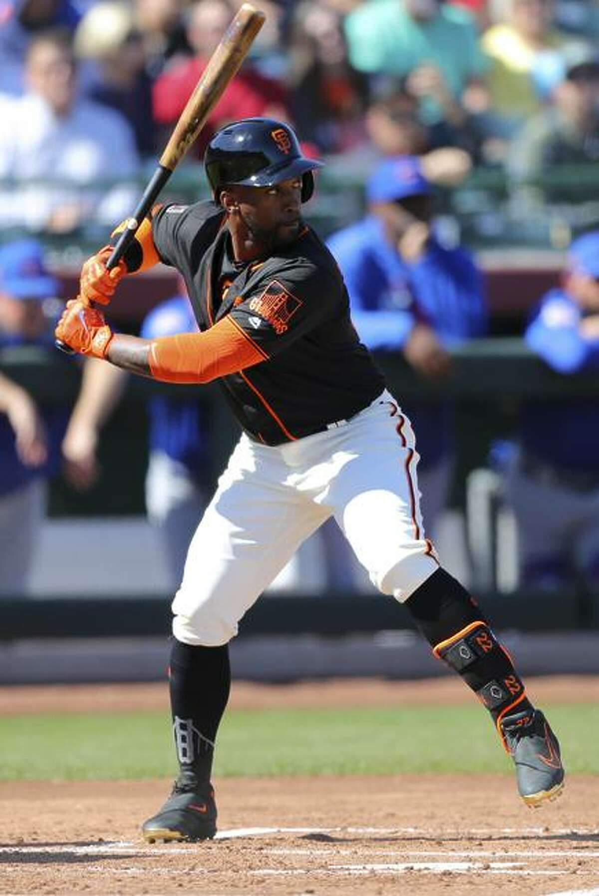 Andrew McCutchen #22 of the San Francisco Giants bats during a game against the Chicago Cubs on Sunday, February 25, 2018 at Scottsdale Stadium in Scottsdale, Arizona.