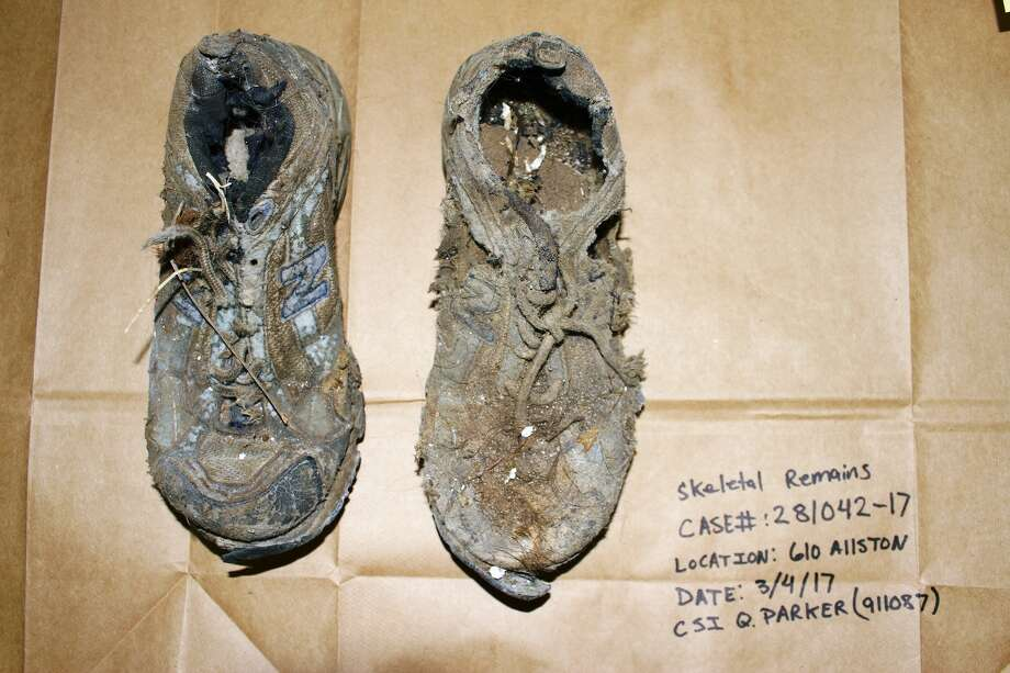 Houston Police Department officers on March 4, 2017 found themselves with a strange case on their hands. A tenant renting a house had found bones in the wall of the home. The only other evidence that remained were these shoes. Photo: Houston Police Department / Houston Police Department