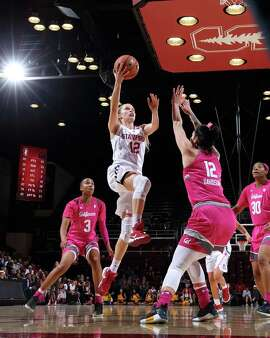 Stanford's Brittany McPhee goes to the basket during a game against University of California, Berkeley at Maples Pavilion in Stanford, CA on February 15, 2018.