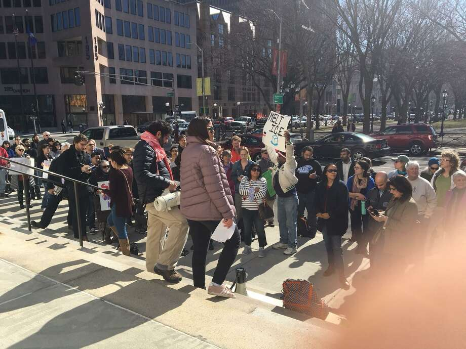 More than 100 people protested on the steps of Superior Court in New Haven Wednesday over ICE agents arresting undocumented immigrants in the courthouse. Photo: Mary O'Leary / Hearst Connecticut Media