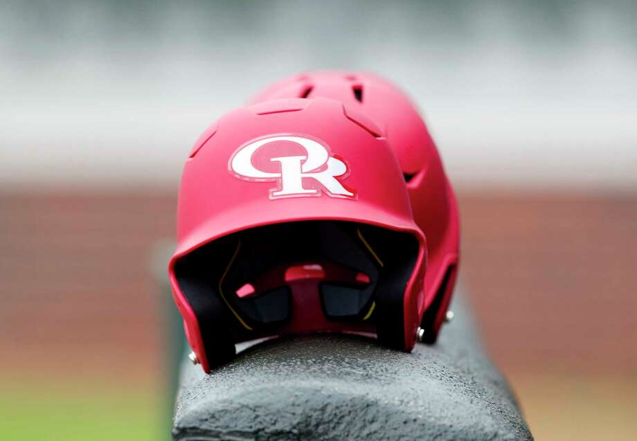 Oak Ridge baseball helmets are seen before a high school baseball scrimmage against Brenham at Oak Ridge High School, Friday, Feb. 16, 2018. Photo: Jason Fochtman, Staff Photographer / © 2018 Houston Chronicle