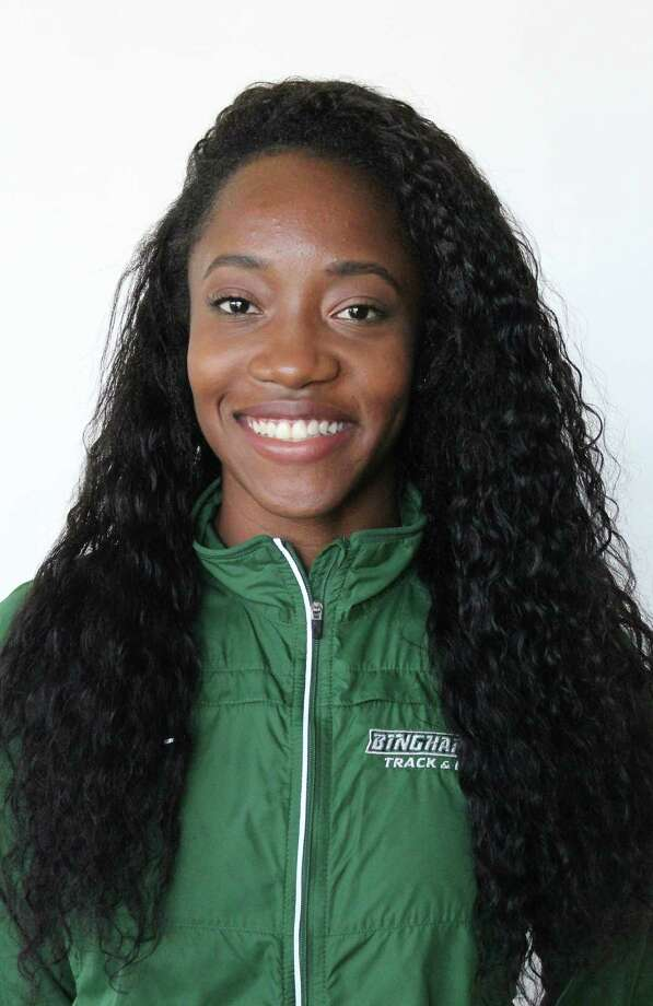 Emma Willard graduate Keishorea Armstrong of the Binghamton indoor track team. (Courtesy of Binghamton Athletics)