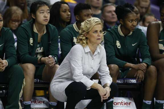Baylor head coach Kim Mulkey looks on from the sideline as Baylor plays TCU during the second half of an NCAA college basketball game, Saturday, Feb. 24, 2018 in Fort Worth, Texas. Baylor won 85-53. (AP Photo/Ron Jenkins)