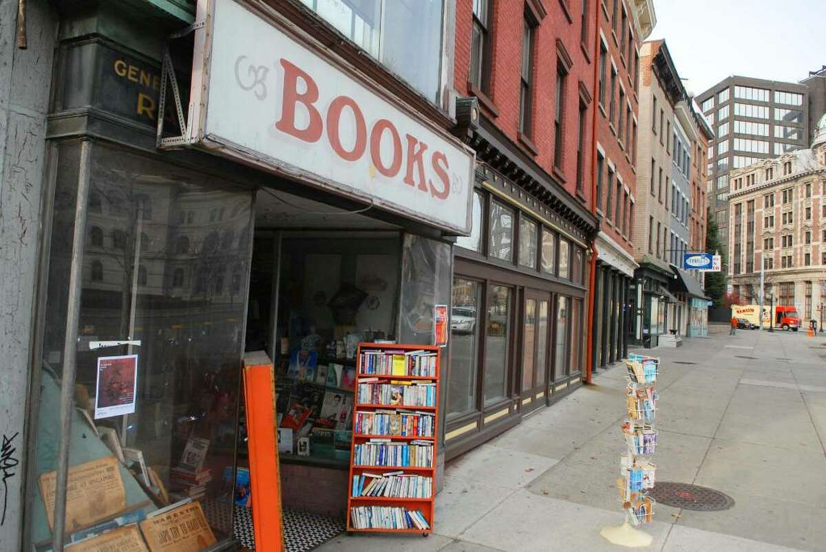 A view of the outside of Capital Bookstore on Broadway in Albany. (Paul Buckowski / Times Union)