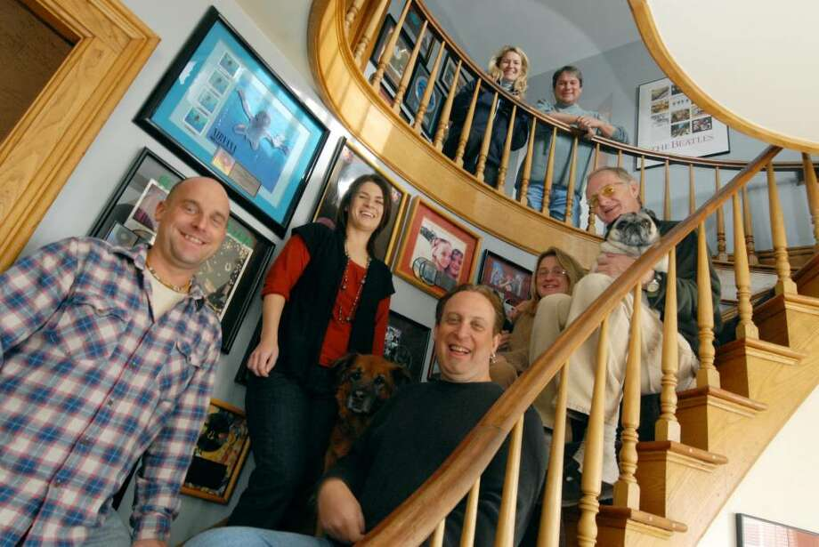The WEQX staff and alumni ( left to right) Jeff Morad, Amber Miller, Willobee, Mimi Brown and Brooks Brown ,top, Joy and JR at the staions studios in Manchester, Vermont, 11/04/2009. (Michael P. Farrell / Times Union) Photo: MICHAEL P. FARRELL / 00006237A