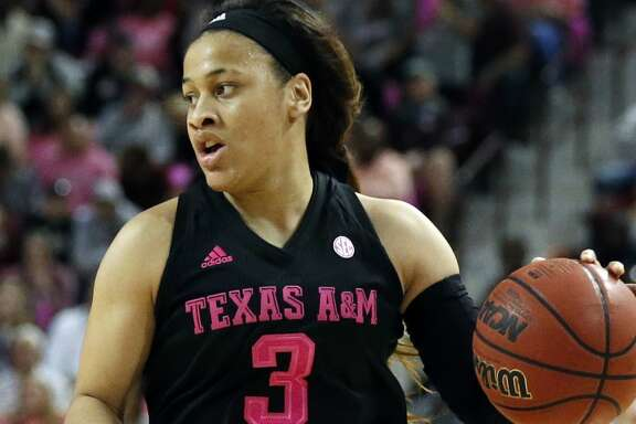 Texas A&M guard Chennedy Carter (3) looks for an opening to drive to the basket in the second half of an NCAA college basketball game against Mississippi State in Starkville, Miss., Sunday Feb. 18, 2018. Mississippi State won 76-55. (Associated Press/Rogelio V. Solis)