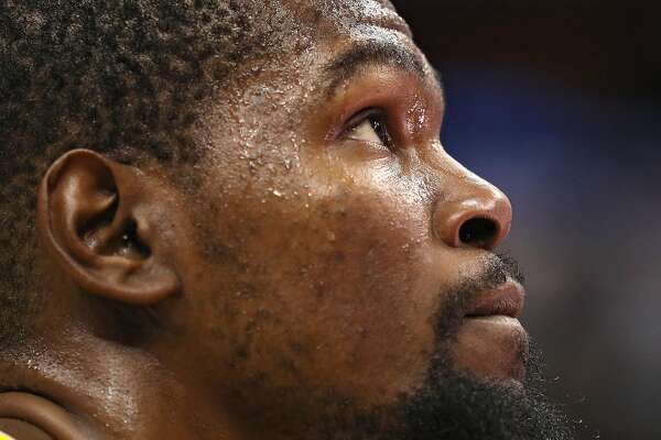 WASHINGTON, DC - FEBRUARY 28: Kevin Durant #35 of the Golden State Warriors looks on after defeating the Washington Wizards Capital One Arena on February 28, 2018 in Washington, DC. NOTE TO USER: User expressly acknowledges and agrees that, by downloading and or using this photograph, User is consenting to the terms and conditions of the Getty Images License Agreement. (Photo by Patrick Smith/Getty Images)