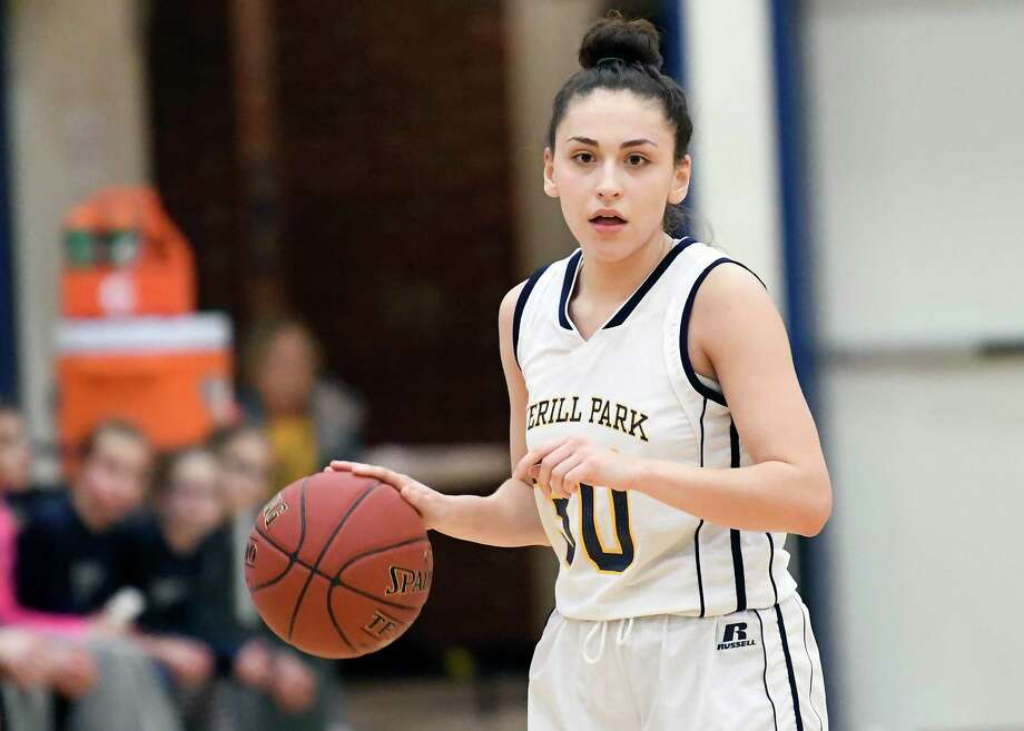 Averill Park's Stephanie Jankovic (10) moves the ball against Hudson Falls' during the first half of a girls' Section II Class A high school basketball game Thursday, Feb. 22, 2018, in Averill Park, N.Y. (Hans Pennink / Special to the Times Union) Photo: Hans Pennink / Hans Pennink
