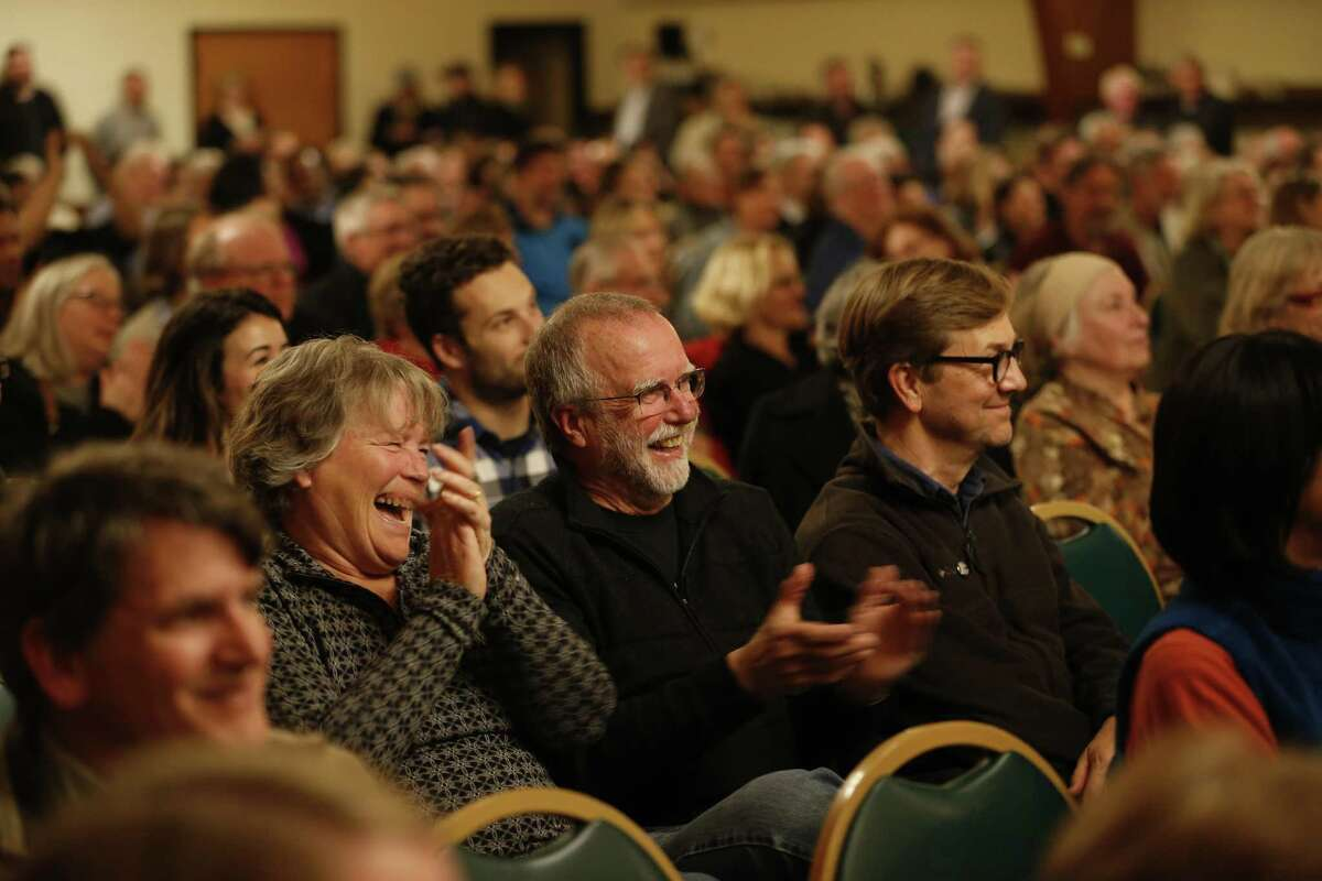 Attendees react during a mayoral roundtable discussion at the United Irish Cultural Center in San Francisco, Calif. on Wednesday, Feb. 28, 2018.