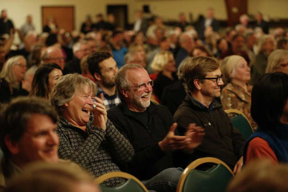 Attendees react during a mayoral roundtable discussion at the United Irish Cultural Center in San Francisco, Calif. on Wednesday, Feb. 28, 2018. Photo: Stephen Lam / Special To The Chronicle / ONLINE_YES
