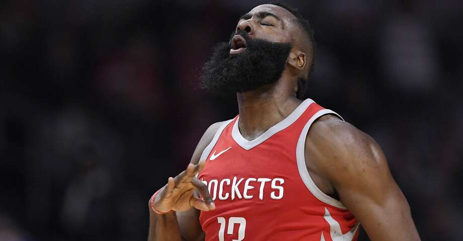 Houston Rockets guard James Harden celebrates after hitting a 3-point shot during the first half of the team's NBA basketball game against the Los Angeles Clippers, Wednesday, Feb. 28, 2018, in Los Angeles. (AP Photo/Mark J. Terrill) Photo: Mark J. Terrill/Associated Press