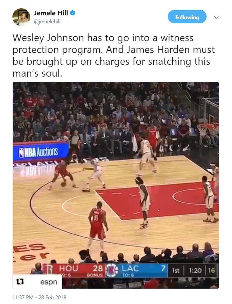 cfa6100d0a31 James Harden makes killer play against Wes Johnson on court ...